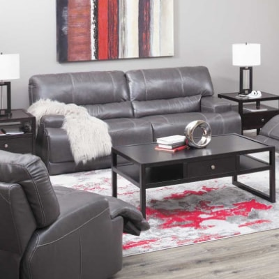 CHARCOAL LEATHER POWER RECLINE SOFA